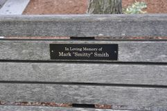 Portsmouth, 30th June: Memorial Wooden Bench details from Downtown of Portsmouth in New Hampshire of USA Stock Photo