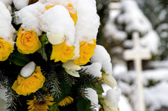 Memorial Wreath. Snow covered yellow roses as part of a memorial wreath royalty free stock photo