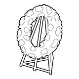 Memorial wreath icon, outline style Stock Photography
