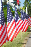 MemorialDayFlags. United States flags line the sidewalk in Avon by the Sea, NJ Royalty Free Stock Images