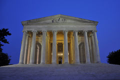 Memoriale del Thomas Jefferson alla notte immagine stock libera da diritti