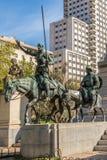 Memoriale di Cervantes con le statue Don Quixote e Sancho Panza Fotografia Stock