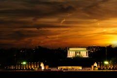 Memoriale di Lincoln al tramonto Fotografia Stock Libera da Diritti
