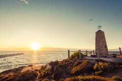 Memoriale di Noarlunga del porto con il molo al tramonto Fotografia Stock