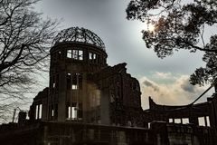 Memoriale di pace di Hiroshima - cupola di Genbaku fotografia stock libera da diritti