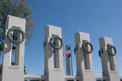 Memoriale di WWII & monumento di Washington Fotografia Stock Libera da Diritti