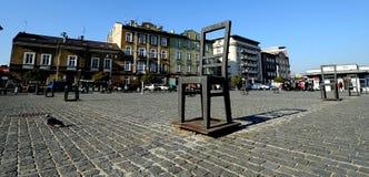 Memoriale per gli ebrei assassinati del ghetto di Podgorze, Cracovia, Polonia Fotografia Stock Libera da Diritti