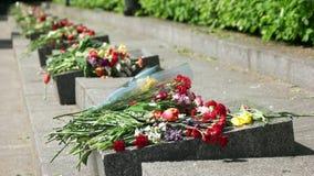 Memoriali della lapide con i mazzi dei fiori archivi video