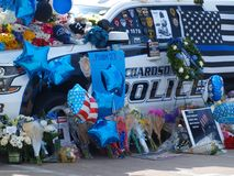 Memorials for Officer at Richardson Police Department. Dallas,USA,09February 2018. Richardson Police Officer Veteran David Sherrard,becomes the first officer to Royalty Free Stock Photography