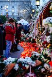 In memoriam of death of King Mihai of Romania. BUCHAREST, ROMANIA - 15 DECEMBER 2017: People gathered to bring flowers as the last homage in memory of King Mihai stock photo
