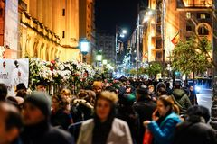 In memoriam of death of King Mihai of Romania. BUCHAREST, ROMANIA - 14 DECEMBER 2017: People gathered to bring flowers as the last homage in memory of King Mihai stock photography