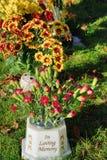 Memoriam flowers standing up in vase. Memoriam flowers standing in vase royalty free stock photos