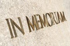 In memoriam ord som inskrivas i monument fotografering för bildbyråer