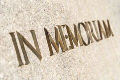 In Memoriam Words Inscribed In Monument Stock Image