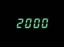 2000 memorie digitali verdi orizzontali b dell'orologio dell'esposizione di millennio Fotografie Stock Libere da Diritti
