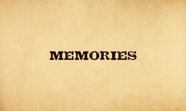 Memories. Text on old paper stock illustration