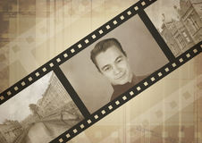 Memories. Vintage photo with filmstrip royalty free stock images