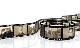 Memories. Retro photo with filmstrip Stock Images