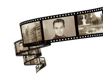 Memories. Retro photo with filmstrip Royalty Free Stock Photos