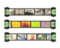 Memories. Retro and modern photos with filmstrip Stock Images