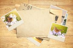 Memories. Sheet old paper and photos Stock Photos