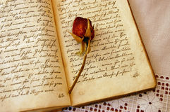 Memories. Dried red rose on an open old book on a lacy tablecloth Stock Images