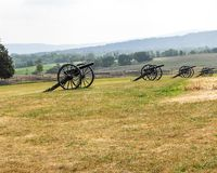 Memories of Antietam. Canon in a row stand as a testament to brave Americans Stock Images