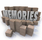 Memories Cardboard Box Word Remember Times Past Stock Images