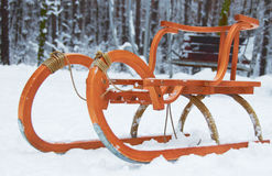 The  memories of childhood. Child sledge in winter public park Royalty Free Stock Photography