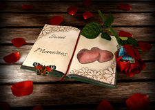 Memories concept - book, rose and butterflies on Stock Photography