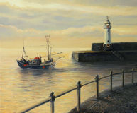 Memories of The Old Lighthouse. An oil painting on canvas of a sunrise landscape with a fishing boat leaving the port and an old lighthouse in Mevagissey, United Stock Images