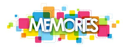 MEMORIES banner on colorful squares background stock illustration
