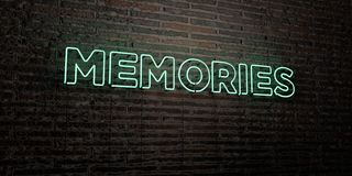 MEMORIES -Realistic Neon Sign on Brick Wall background - 3D rendered royalty free stock image Royalty Free Stock Photo