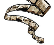 Memories - retro photo with filmstrip Royalty Free Stock Images