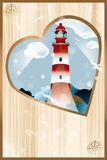 Memories - souvenirs. Cover page of photo album with heart shaped lighthouse design - eps 10 vectors royalty free illustration