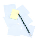 Memories sticker. Green pencil on yellow and blue memories sticker. Pattern. Clipping path Royalty Free Stock Photo