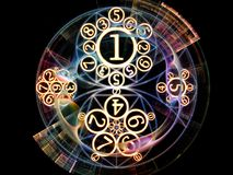Memories of Symbolic Meaning. Numeric Connection series. Creative arrangement of number and fractal geometry symbols for subject of magic, math and occult Stock Photos