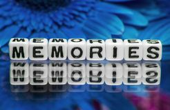 Memories text message with blue flowers Stock Images