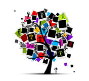 Memories tree with photo frames Stock Photography
