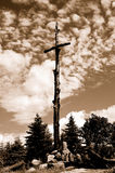 Memories about the war. Cross in the memory of victims of the war stock photo