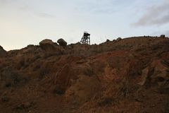 THE ABANDONED WATCHMAN. Memories of what was once a mining complex stock photography
