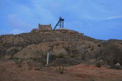 THE WATCHMAN AND THE HOUSE. Memories of what was once a mining complex stock image