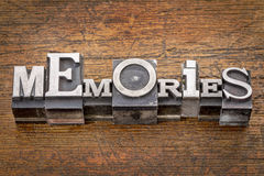 Memories word in metal type Stock Image