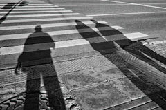 Memories of youth. Memories of his youth in other people's shadows on the road Royalty Free Stock Image