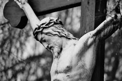 Memory. Statue of Christ at a local graveyard Royalty Free Stock Photo