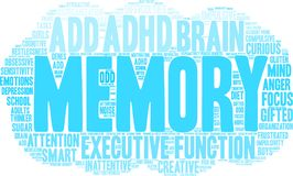 Memory Word Cloud. Memory ADHD word cloud on a white background Stock Photos
