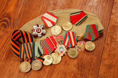 Memory of awards and medals of World War II and Great Patriot War orders Royalty Free Stock Photos