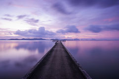 Memory bridge. My memory bridge on sunset seascape Stock Image