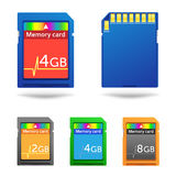 Memory card. The different colors memory cards isolated on the white background Stock Photos