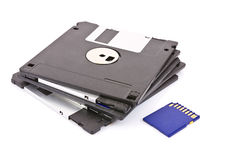 Memory card and diskette Royalty Free Stock Image